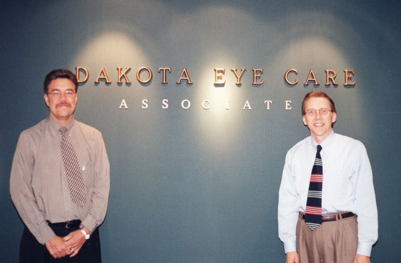 "co-founders Dr. Mark Hennen and Dr. Thomas Vogelpohl at Dakota Eye Care Associates ""Grand Opening"" in January of 1999"